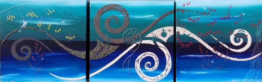 Larger painting, 3 pieces at 750mm x 750mm.  Note all the relief work, fern koru, 5 tui, pigeon, flax, kowhai and pohutukawa